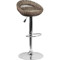 Wicker Round Back Adjustable Bar Stool in Brown