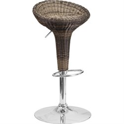 Wicker Backless Adjustable Bar Stool in Brown