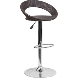 Wicker Round Low Back Adjustable Bar Stool in Brown