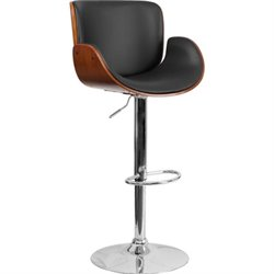 Bentwood Mid Back Adjustable Bar Stool in Walnut
