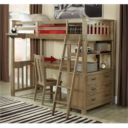 NE Kids Highlands Twin Slat Loft Bed with Desk and Dresser-MER-1211-6
