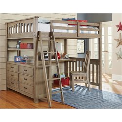 NE Kids Highlands Slat Loft Bed with Desk and Dresser-MER-1211-4
