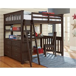 NE Kids Highlands Slat Loft Bed with Desk and Dresser in Espresso-MER-1211-5