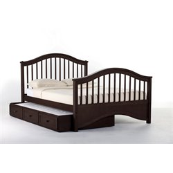 NE Kids School House Jordan Slat Bed with Trundle in Chocolate-MER-1211-15