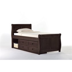 NE Kids School House Captain's Sleigh Bed in Chocolate-MER-1211-90