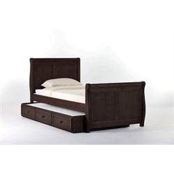 NE Kids School House Sleigh Bed with Trundle in Chocolate-MER-1211-34