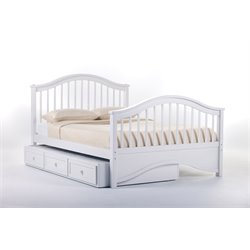 NE Kids School House Jordan Slat Bed with Trundle in White-MER-1211-17