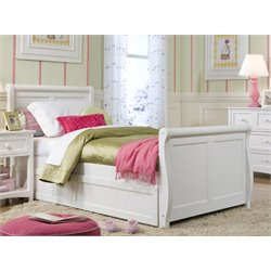 NE Kids School House Storage Sleigh Bed in White-MER-1211-59