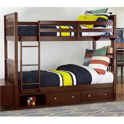 NE Kids Pulse Storage Slat Bunk Bed in Cherry-MER-1211-73