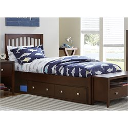 NE Kids Pulse Storage Slat Bed in Chocolate-MER-1211-67