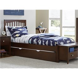 NE Kids Pulse Slat Bed with Trundle in Chocolate-MER-1211-44