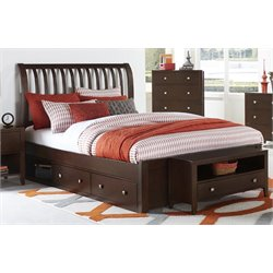 NE Kids Pulse Storage Sleigh Bed in Chocolate-MER-1211-61