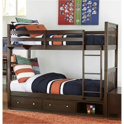 NE Kids Pulse Storage Slat Bunk Bed in Chocolate-MER-1211-74