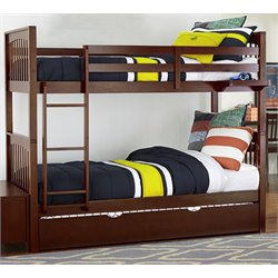 NE Kids Pulse Slat Bunk Bed with Trundle in Chocolate-MER-1211-50