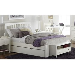 NE Kids Pulse Slat Bed with Trundle in White-MER-1211-47