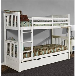 NE Kids Pulse Slat Bunk Bed with Trundle in White-MER-1211-51