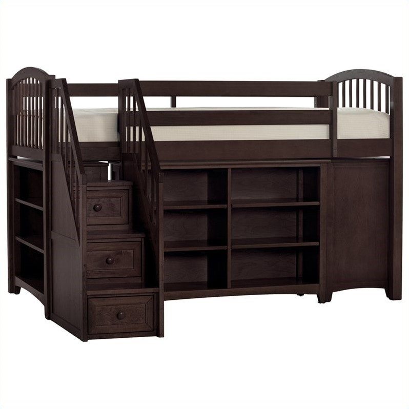 ne kids school house storage junior loft bed with stairs in chocolate 5060njlst. Black Bedroom Furniture Sets. Home Design Ideas