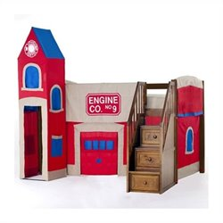 NE Kids School House Firehouse Loft Bed with Stairs in Pecan