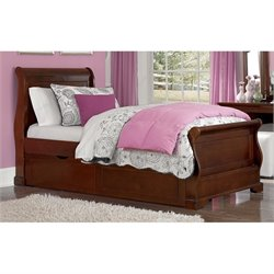 NE Kids Walnut Street Riley Sleigh Bed with Trundle 1