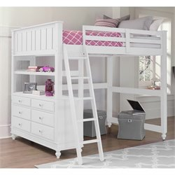 NE Kids Lake House Loft Bed with Hanging Shelf