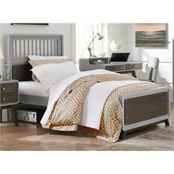 NE Kids East End Twin Spindle Bed in Gray