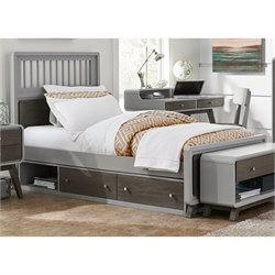 NE Kids East End Twin Spindle Storage Bed in Gray