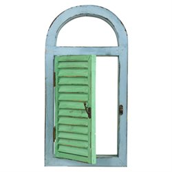 Nearly Natural Vintage Window Shutter and Mirror in Green and Blue