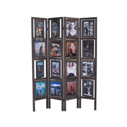 Proman Products Picture Folding Room Divider in Torched Brown