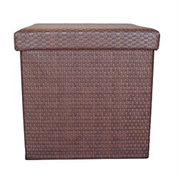 Proman Products Wick Patterned Storage Ottoman in Tuscan Rose