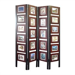 Picture Folding Screen In Dark Mahogany