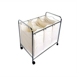 Laundry Basket Trolley with 3 Compartments