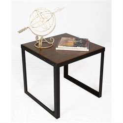 Proman Belvidere Chic End Table in Walnut and Black