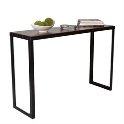 Proman Belvidere Chic Console Table in Walnut and Black