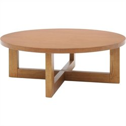 Regency Chloe Round Veneer Coffee Table in Medium Oak Walnut