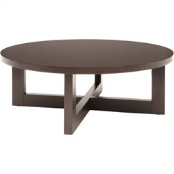 Regency Chloe Round Veneer Coffee Table in Mocha Walnut
