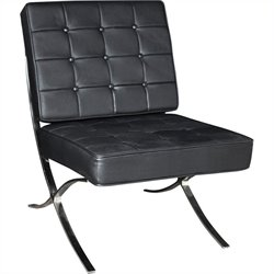 Regency Princeton Tufted Leather Lounge Chair in Black