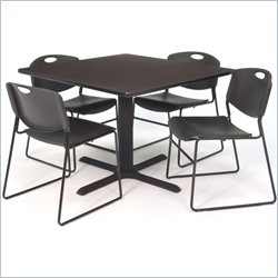 Cain Walnut Breakroom Table with Zeng Chairs in Black