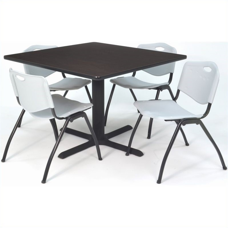 Regency Square Lunchroom Table and 4 Grey M Stack Chairs in Mocha
