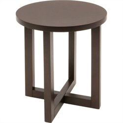 Regency Chloe Round Veneer End Table in Mocha Walnut