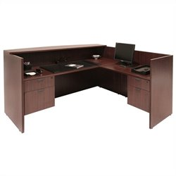 Regency Legacy L-Shaped Reception Desk in Mahogany