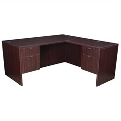 Regency Legacy Desk with Pedestals and Return in Mahogany