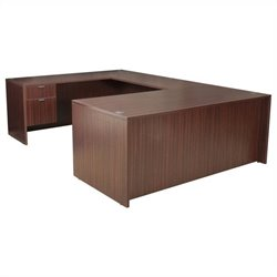 Regency Legacy U-Desk with Box File Pedestals and Bridge in Mahogany