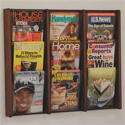 Wooden Mallet Stance 9 Pocket Wall Mounted Magazine Rack in Mahogany