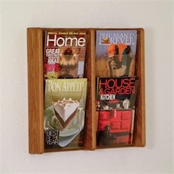 Wooden Mallet 4 Pocket Acrylic and Oak Wall Display in Medium Oak