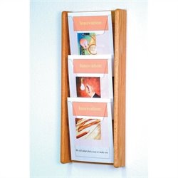 Wooden Mallet 3 Pocket Acrylic and Oak Wall Display in Light Oak