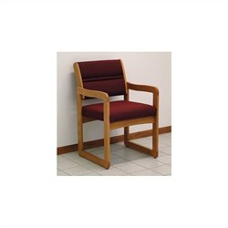 Dakota Wave Valley Sled Base Reception Chair in Medium Oak