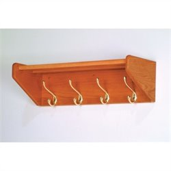 Wooden Mallet Hat and Coat Rack with 4 Brass Hooks in Medium Oak