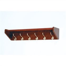 Wooden Mallet Hat and Coat Rack with 5 Brass Hooks in Mahogany