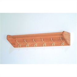 Wooden Mallet Hat and Coat Rack with 6 Brass Hooks in Light Oak