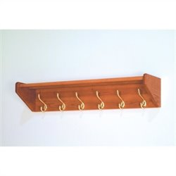 Wooden Mallet Hat and Coat Rack with 6 Brass Hooks in Medium Oak